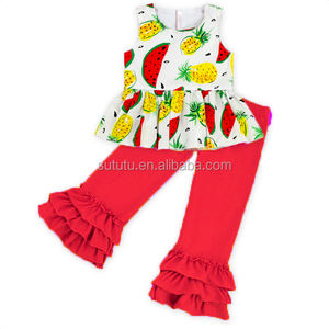 2018 Sue Lucky Kids Boutique Outfits Printed Cute Baby Girls Clothing Set