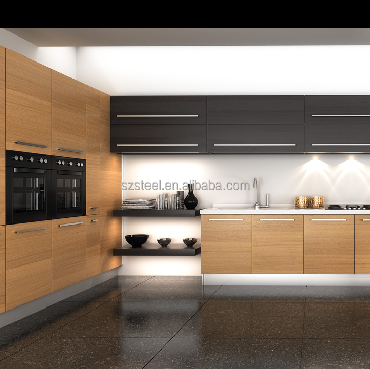 Fashion Modular Wooden kitchen cabinets with artificial Marble /OEM Morden designed kitchen cabinets