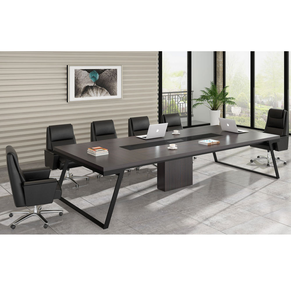 10 Person Meeting Table Modern Design Office Furniture Wooden Conference Table with Metal Frame