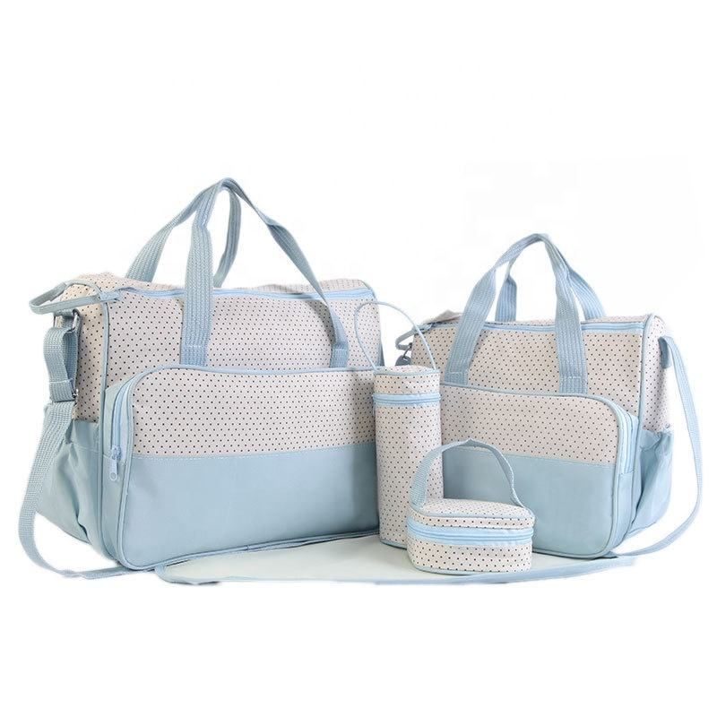 2019 smart small spots design wish classic design baby nylon mummy 5pcs baby diaper bag set for factory supplier