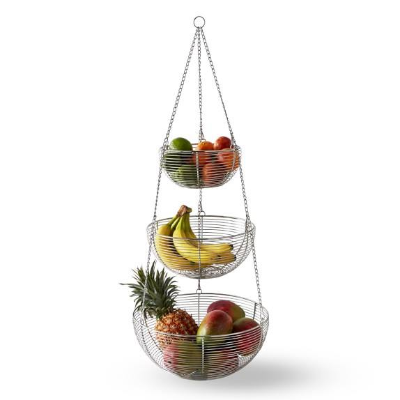 3 tier fashion modern design round metal hanging fruit basket with chain