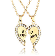 Fashion Diamond Inset Gold Plated Heart In Half Best Friend Engrave Necklace for Friend