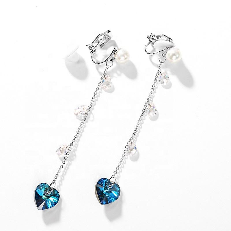 Dara Jewelry Blue Cute Crystal Heart Clip-on Earrings for Girl
