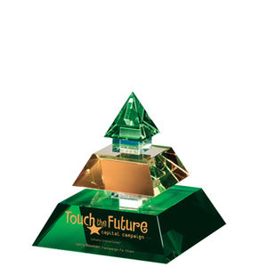 Green Pyramid Crystal Glass Award