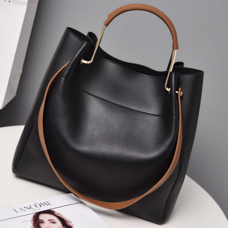 Osgoodway2 High Quality Young Ladies Handbags Stock PU Leather Bags Women Handbags Black