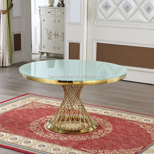 Home furniture rose gold round dining room table