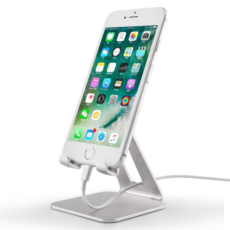 Durable Portable Cell Phone Desktop Holder Metal Aluminum Mobile Phone Stand Use At Home Kitchen Office School