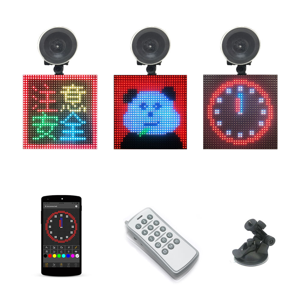 Full Color Draadloze Bluetooth APP Controle 128X128mm Display Emoji Smiley Gezicht LED Auto Teken LED Winkel auto Taxi LED Sign