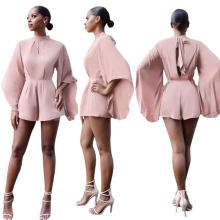 Fashion Clothing Pink Big Flare Sleeve Office Women Playsuits 2018