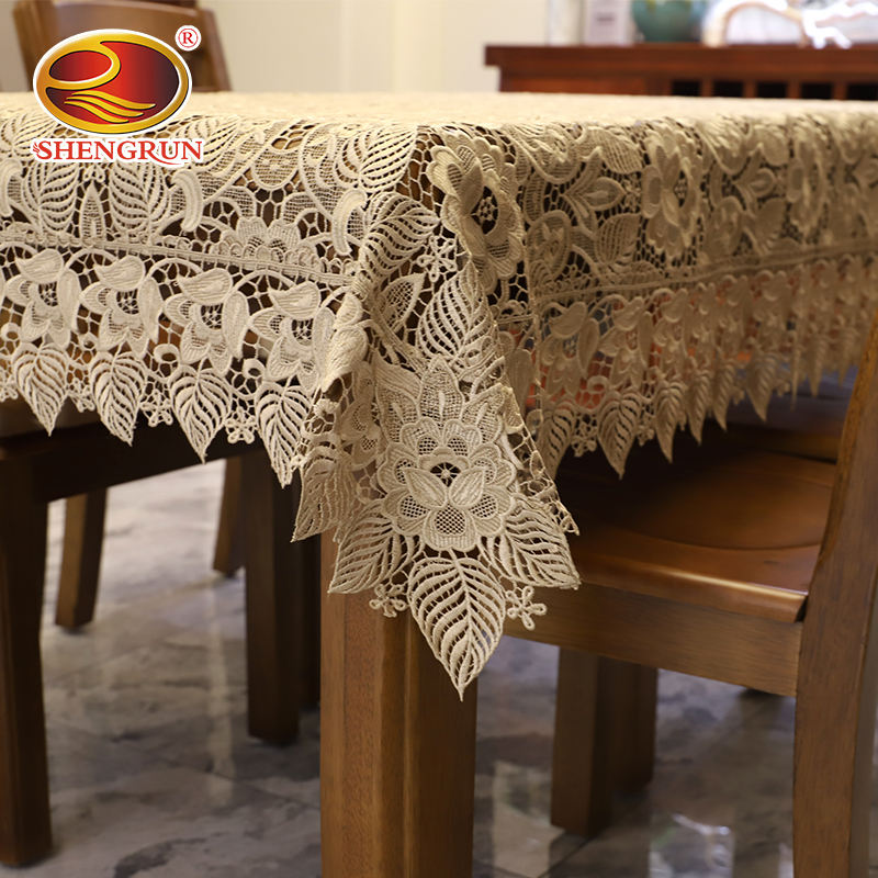 Wholesale the only design embroidery tablecloth wedding with leaf flower pattern