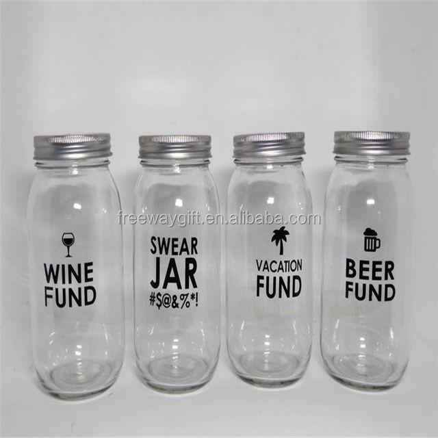 Novelty Banks Money Saving Glass Jars Swear Jar Beer Fund Wine or Vacation Fund