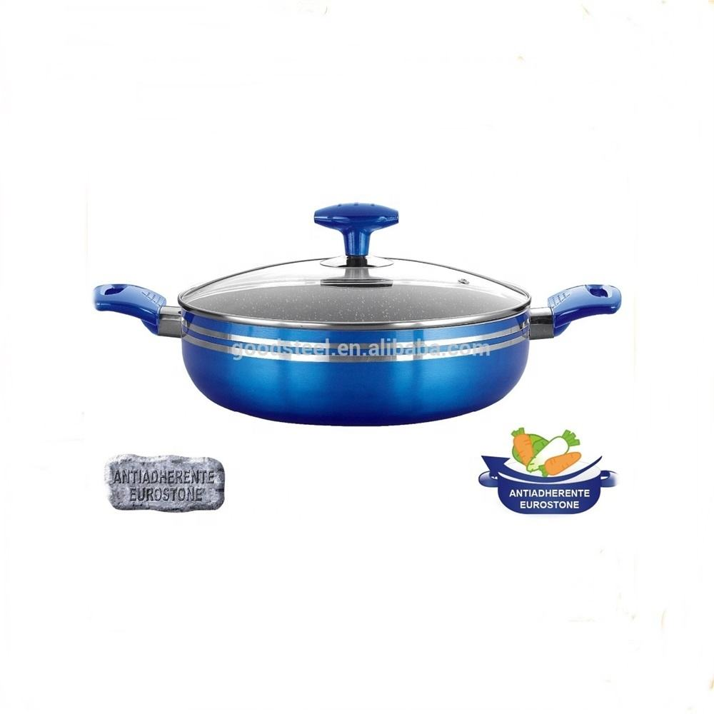 metallic coating aluminum low casserole with marble coating interior MSF-6649