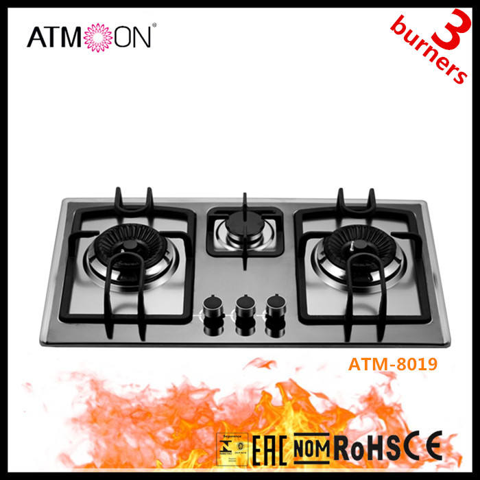 3 burners build in glass top China gas stove/gas hob