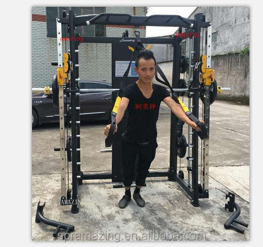 Guangzhou Yijin Sports Equipment Co. Ltd Professional fitness equipment AMA-8802A smith machine multi gym with cable pulleys