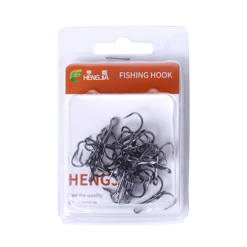 All size High Carbon Steel Fishing Hook Fishhooks Durable Treble Hooks 20pcs/box