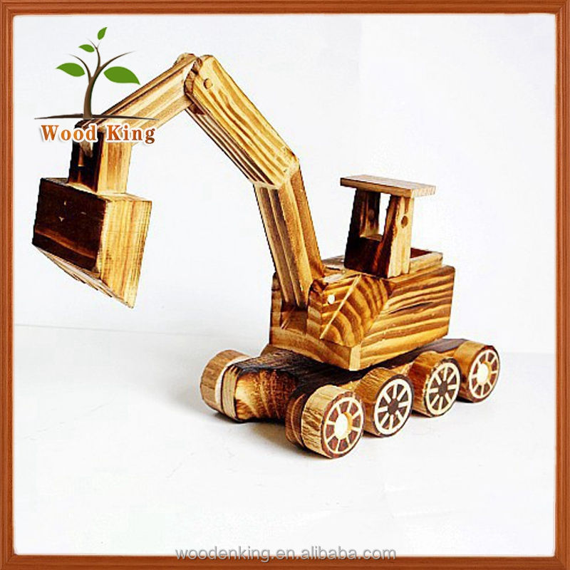 Contracted And Contemporary Pine Wood Crafts Gift Furnishing Articles Place Adorn Model Car Wooden Mini Toy Excavator