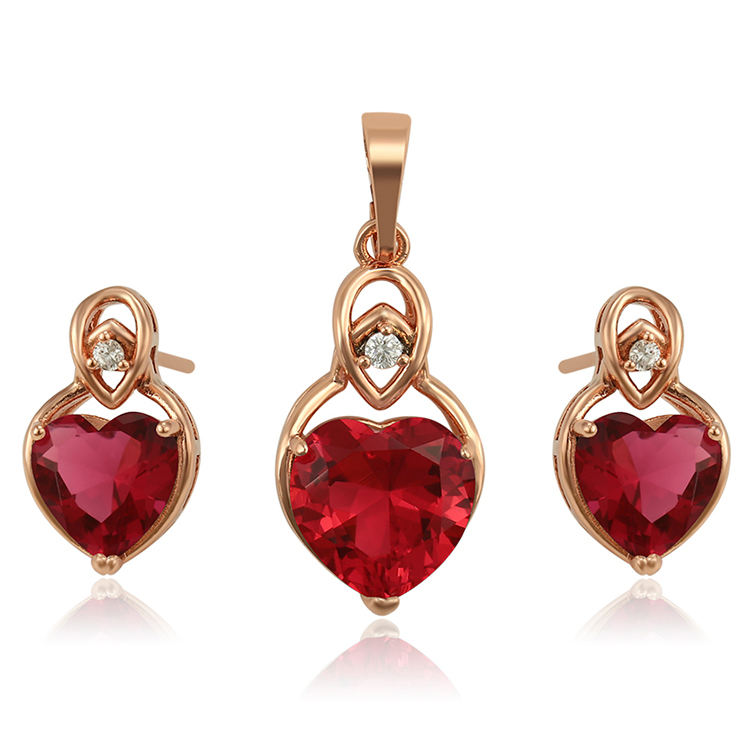 S-3 imitation gold fashion jewellery sets, heart shaped zirconia women necklace jewelry sets, rose gold fashion jewelry