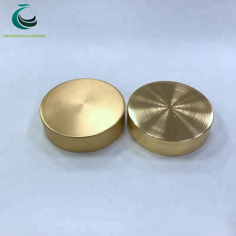 High Quality Shiny Gold Brush Aluminum Lid For Cosmetic Widemouth Plastic Jar