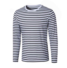 Wholesale Custom High Quality Men's clothing Blank Long Sleeve Clothing Fashion Strip T shirt For Men Male Boy
