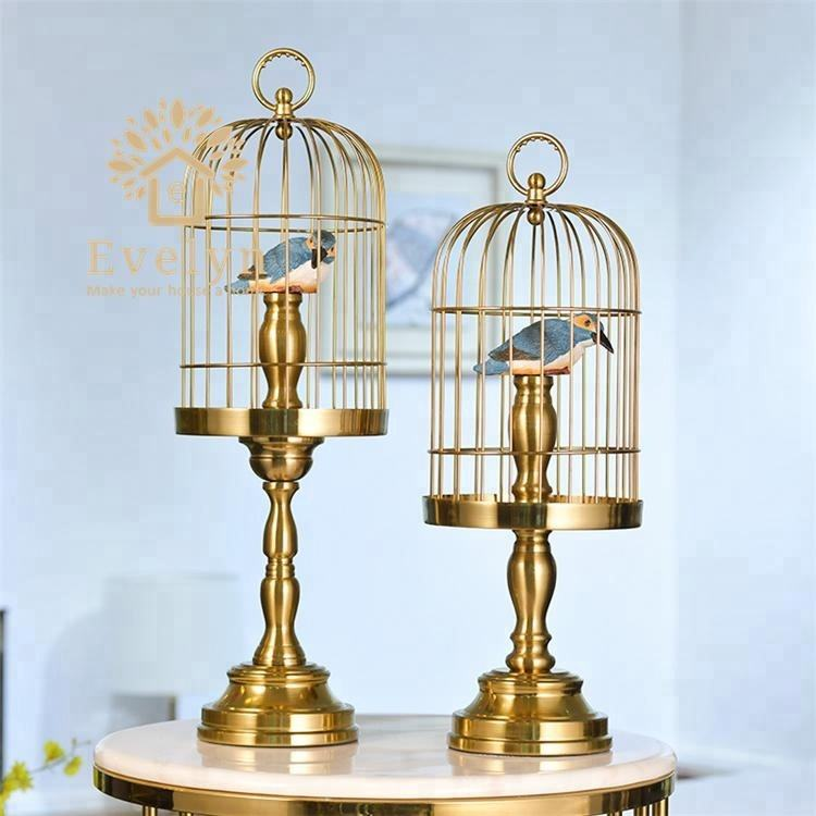 Popular guangzhou wrought iron folk art decorative metal birdcage for home decor