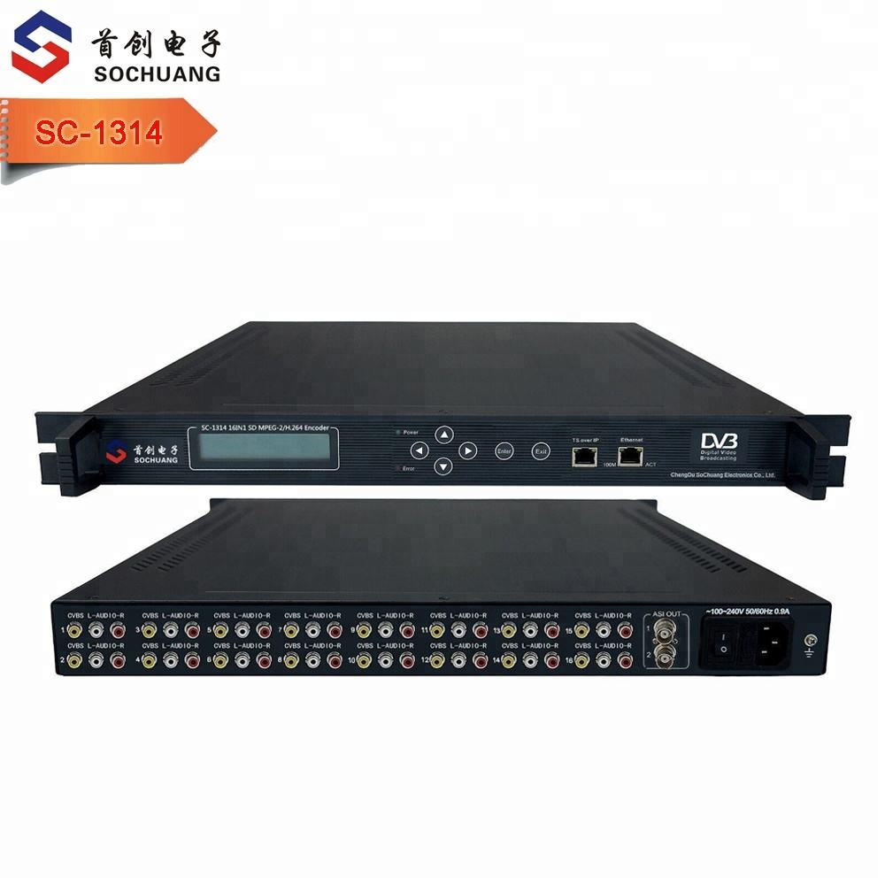 16 canali mpeg-2/H.264 <span class=keywords><strong>DVB</strong></span> Encoder/16 IN 1 Video Analogico Audio ip Encoder (8AV/RCA + 1ASI in,ASI + IP/UDP unicast/multicast out)