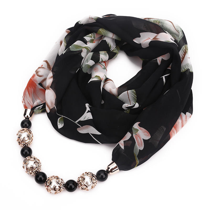Wholesale 2019 newest scarf ring jewelry fashion pattern printed chiffon small handmade women pendant jewelry necklace scarf