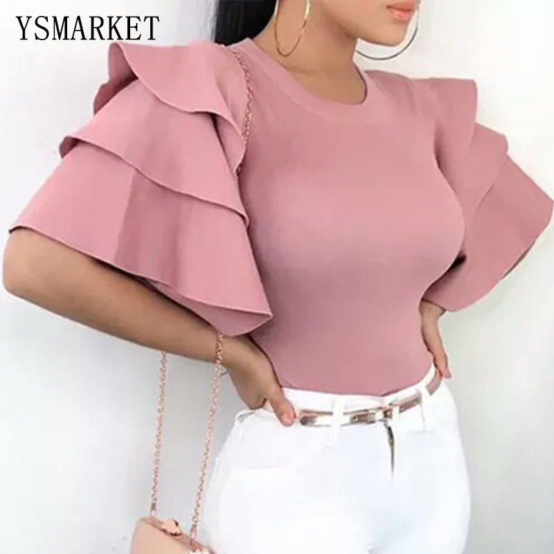 Summer Fashion Womens Casual Tops Clothing Pink Short Sleeve Crew Neck T-Shirt Ladies Women Casual Solid Ruched Sleeve T-Shirts