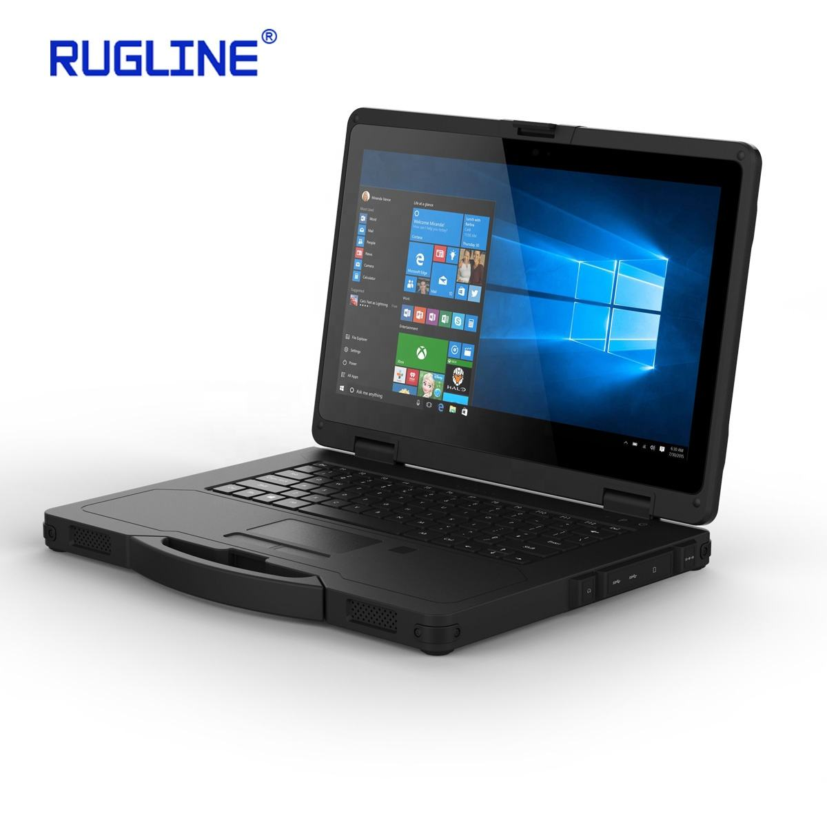 RUGLINE 14 Inch Industrial Rugged Laptop PC Rugged Notebook with Serial Port Keyboard RJ45 port Outdoor Durable Use