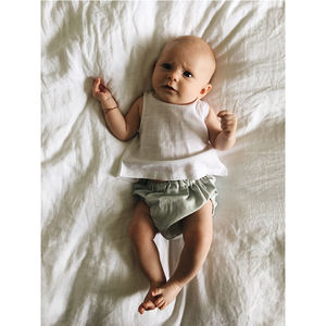 Soft Fabric Two Pieces Linen Baby Clothing Unisex Toddler Top Linen Baby Romper