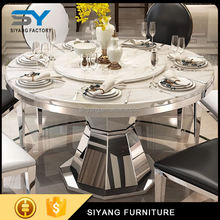 Dining room furniture dinning table set round marble dining table with rotating centre CT012