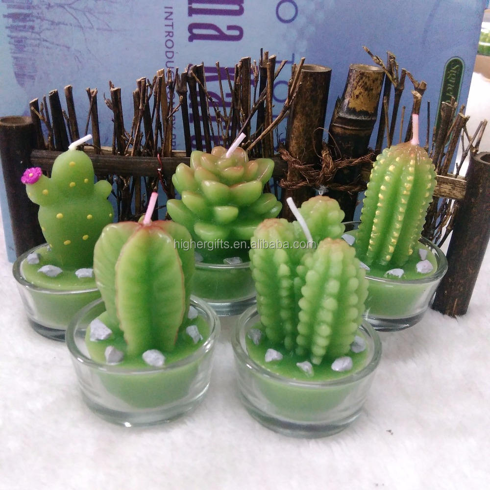 Artificial Green Plants Candle Decoration Cactus Candles Wholesale Cactus Flower Wedding Candle