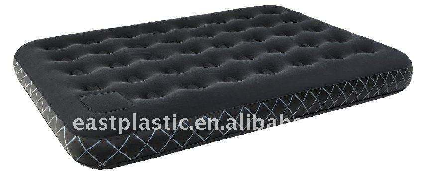 Inflatable Double Flocked Airbed With Foot Sponge Pump