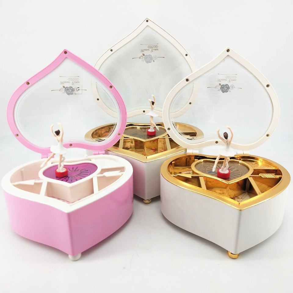 Sell Well Clockwork Type Plastic Heart-shaped Dancing Girl Music Box Wholesale