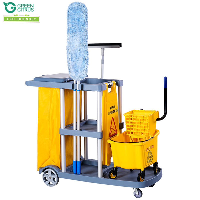 Multipurpose Hotel Cleaning Janitorial Trolley Hotel Housekeeping Maid Cart Trolley Janitor Cart Cleaning Service Trolley