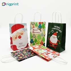 Wholesale recycled christmas craft paper gift party bags in bulk