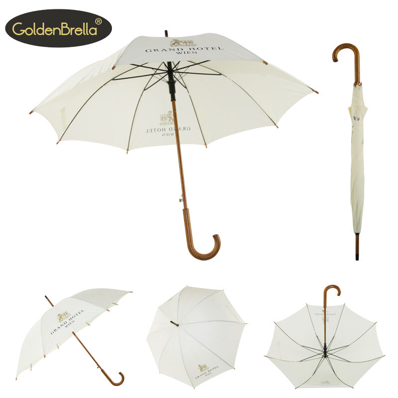 Wooden crooked handle manual open umbrella customized good quality promotion straight umbrella