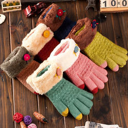 Touch Screen Gloves Knitted Five Fingers Cute Gloves Soft Wa