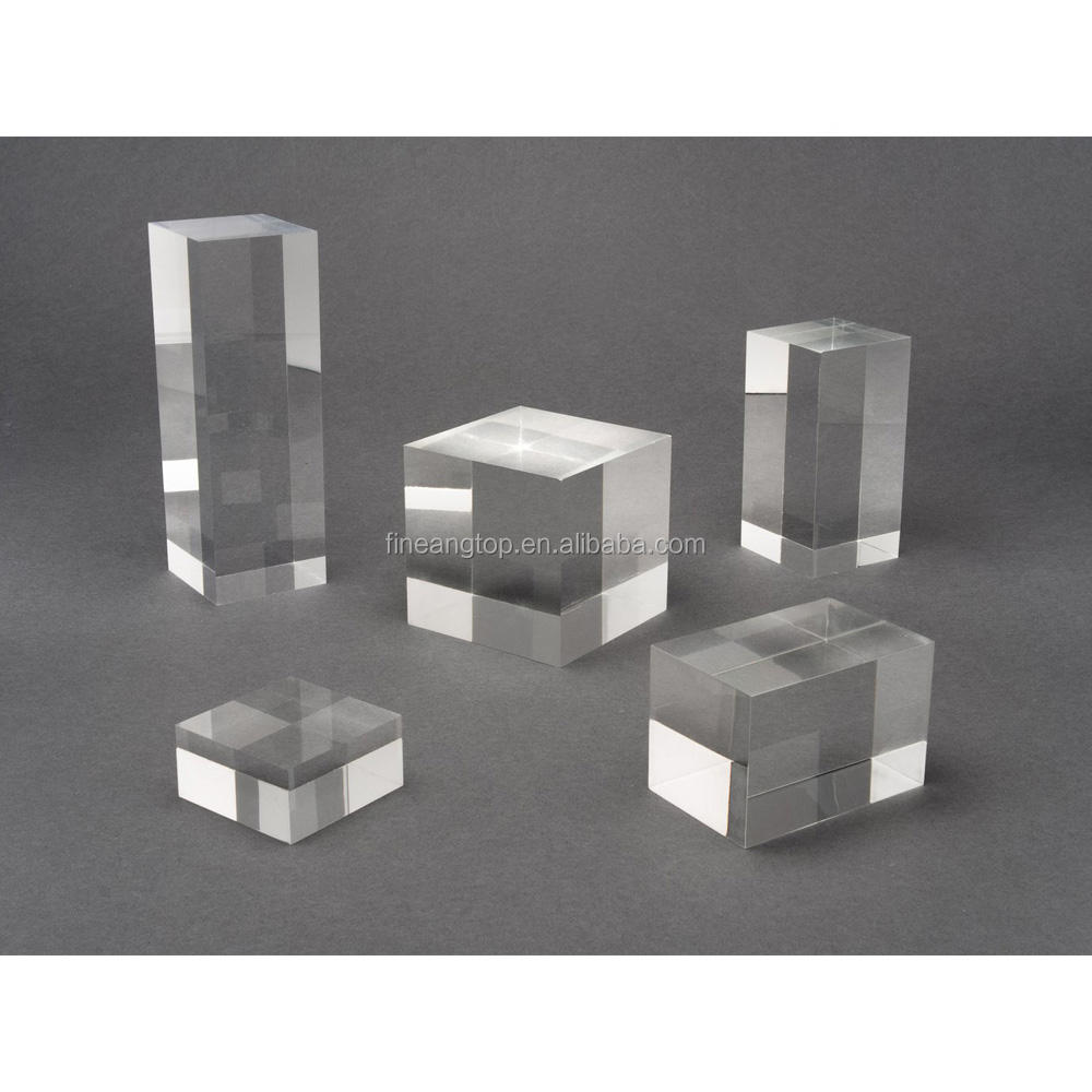 Plastic plexiglass brand display solid custom clear polished acrylic logo block