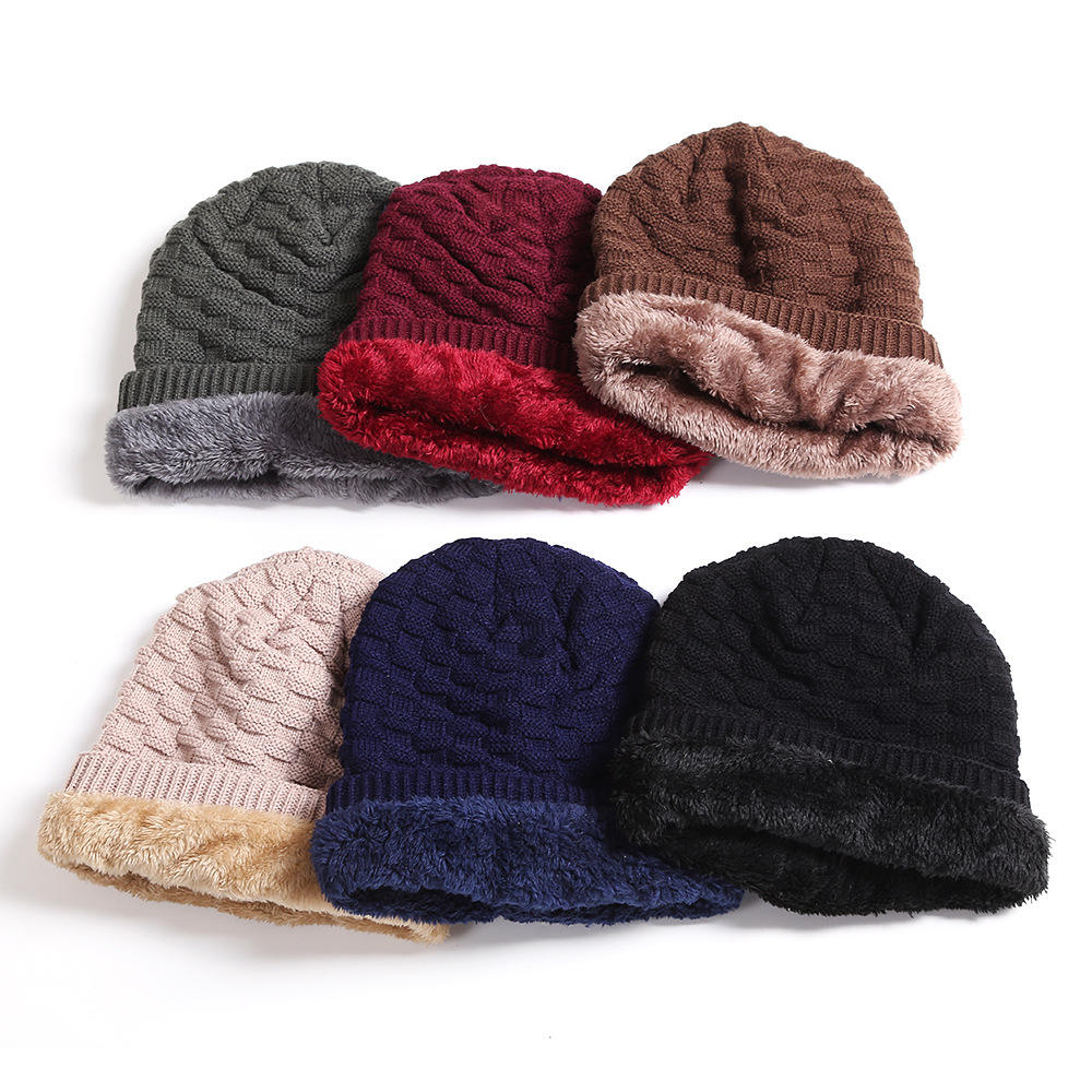 Unisex Multicolor Warm Cable Knit Slouch fleece Beanie Cap hat