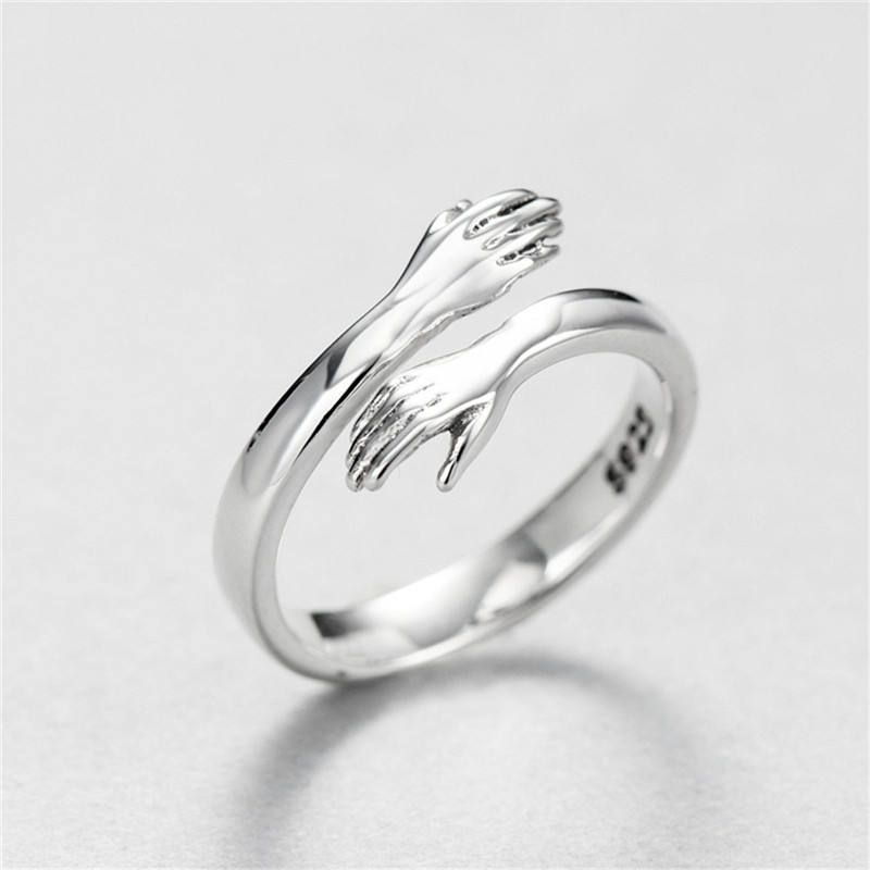 Hot Selling 925 Silver Plated Jewelry Engrave Couple Gift Adjustable Love Hug Ring