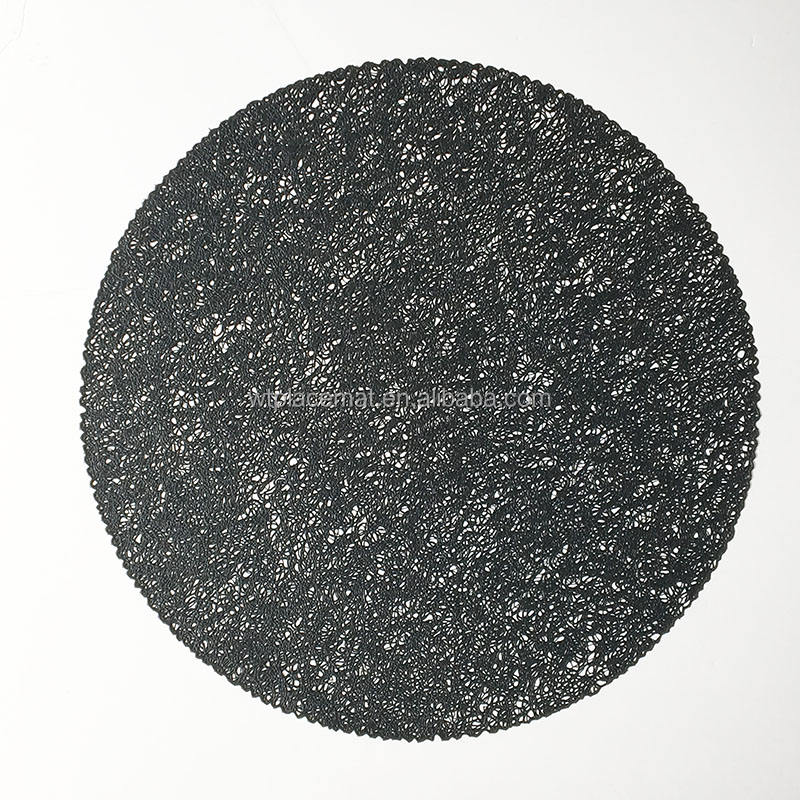 Rond <span class=keywords><strong>noir</strong></span> Sleave Dalle Mate Couleur Tapis <span class=keywords><strong>De</strong></span> <span class=keywords><strong>Table</strong></span> Pour Manger <span class=keywords><strong>PVC</strong></span> napperon