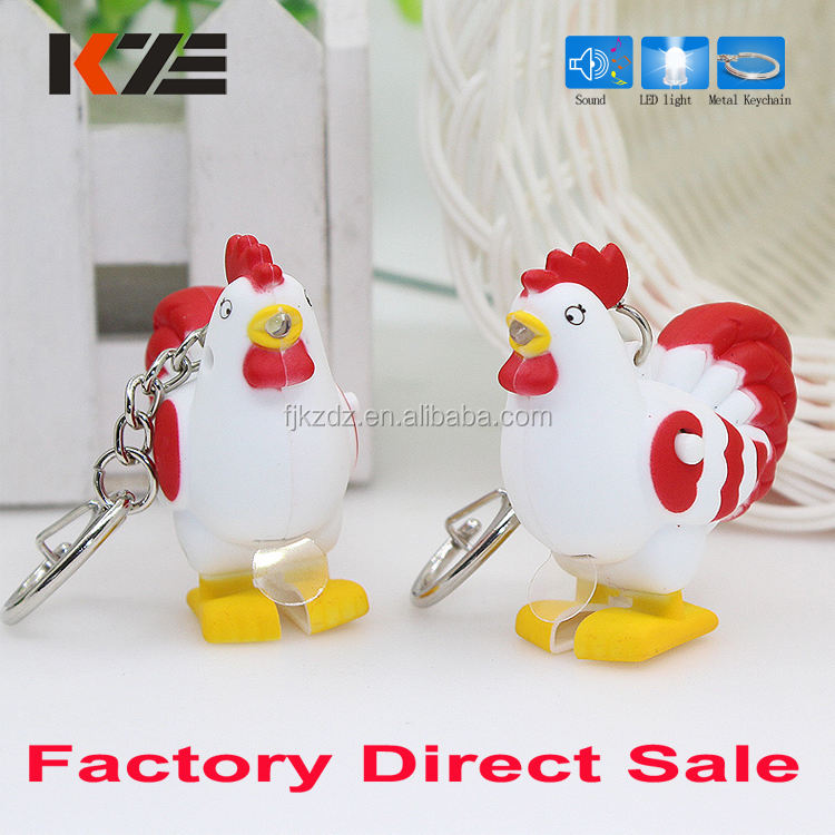 Plastic ABS rooster keychain voice making with light