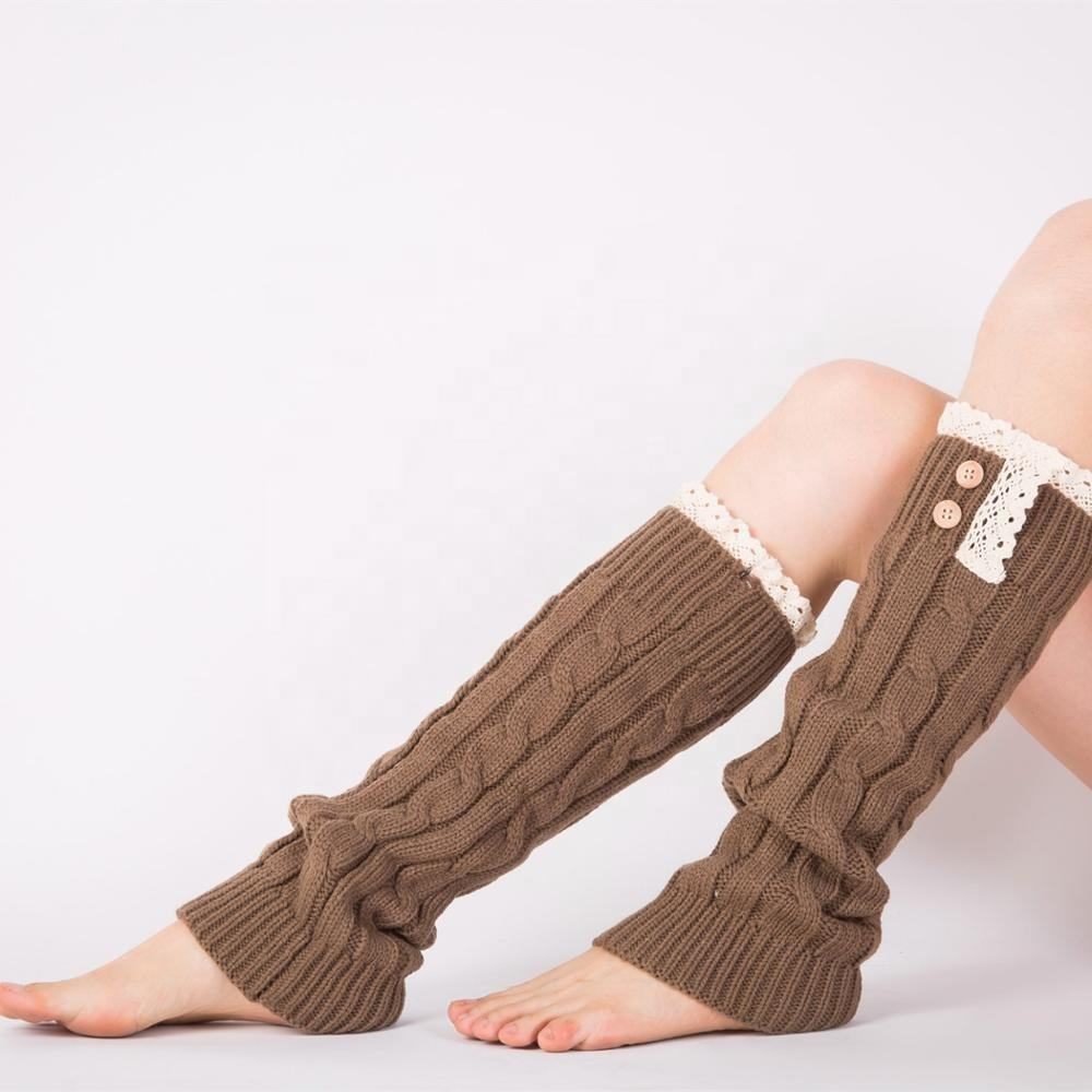 Fashion Wholesale Women 100% Acrylic Cable Knit Adult Lace Trim Button Down Leg Warmers