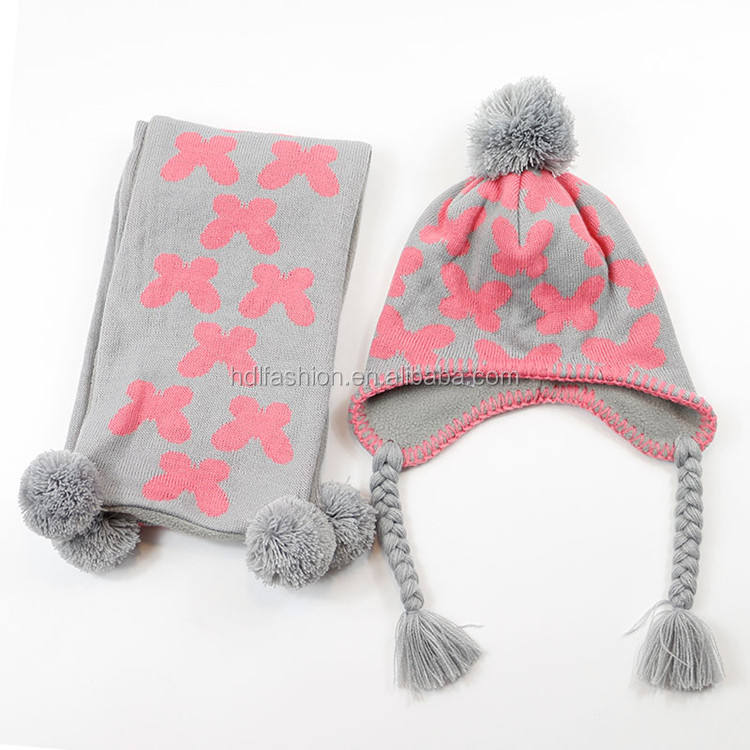 Baby winter jacquard knit pom pom wholesale hat and scarf sets