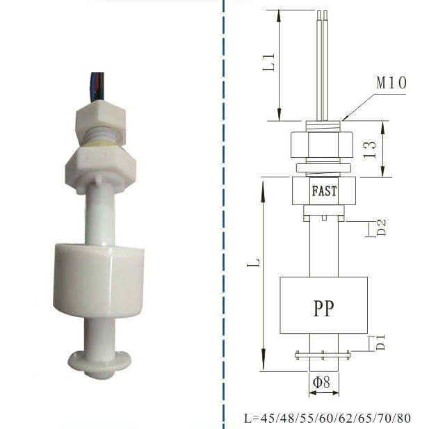 Plastic vertically mounted high temperature magnetic floats liquid level switch for high levels