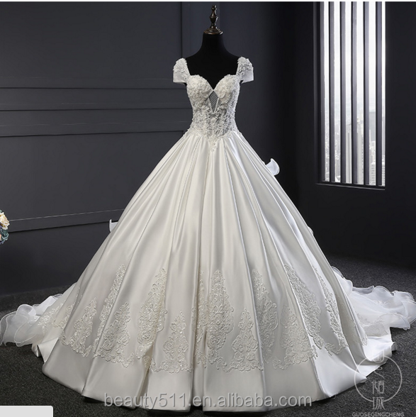 Astergarde sweetheart ruffle Short sleeve wedding dress bridal gown TS220