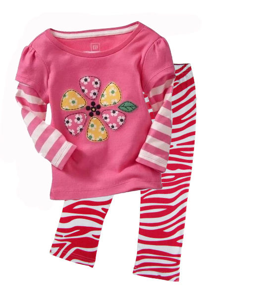 Kids Outfits Zebra Pants with Pink Flower Pattern in Girl's Clothing Sets