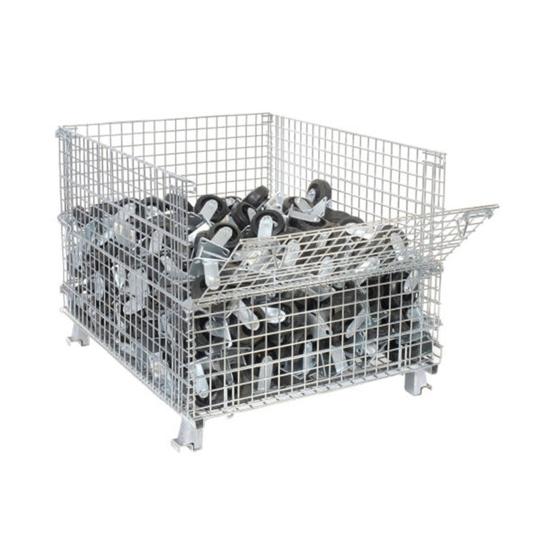Competitive price folding wire mesh container foldable storage cage