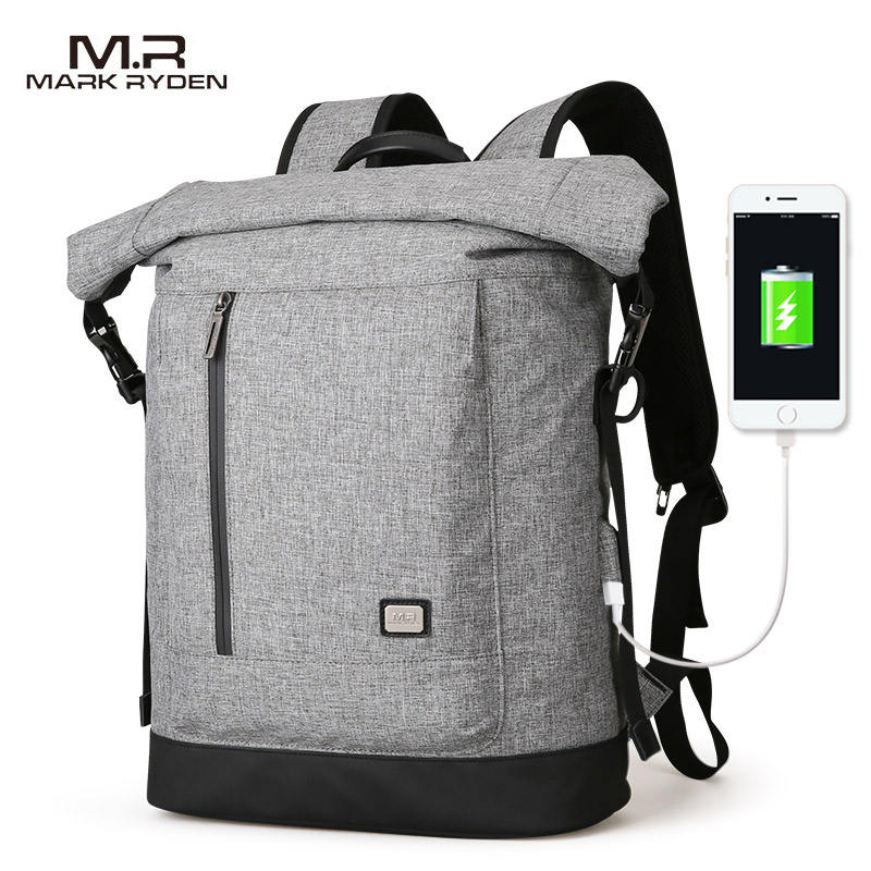 Fashionable MR6875 Waterproof Anti Theft USB Charging Backpack Laptop Bags with Luggage Locking Strap