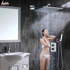10 Inch Polished Brass Overhead Shower Bathroom Thermostatic Shower System Set